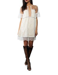 Kendall Kylie Sheer Panel Lace Babydoll Dress Bright White