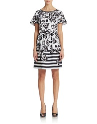 Kensie Printed A Line Dress White Combo