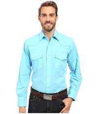 Roper 0487 Solid Broadcloth Turquoise Blue Men's Clothing