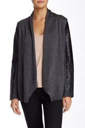 Sisters Faux Leather Sleeve Cardigan Gray