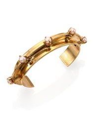Aesa Muse 6Mm Pink Freshwater Pearl Reflection Cuff Bracelet Bronze