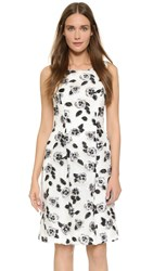 Lela Rose Full Skirt Sheath Dress Ivory Black