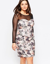 Lipstick Boutique Plus Floral Pencil Dress With Mesh Sleeves