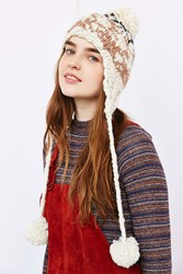 Urban Outfitters Intarsia Pom Ear Flap Hat Tan