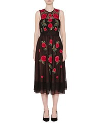 French Connection Amore Sparkle Sleeveless A Line Dress Black Red