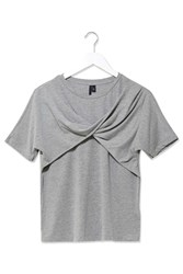 Twist Front Tee By Boutique Light Grey M
