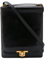 Herma S Vintage Long Flap Shoulder Bag Black