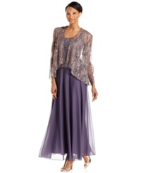 Patra Sleeveless Metallic Lace Gown And Jacket