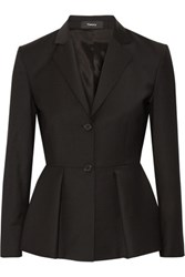 Theory Braneve Wool Blend Peplum Blazer Black