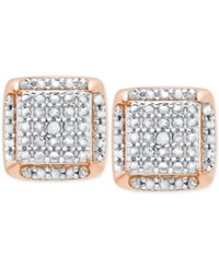 Victoria Townsend Diamond Accent Square Stud Earrings In 18K Gold Plated Sterling Silver Rose Gold