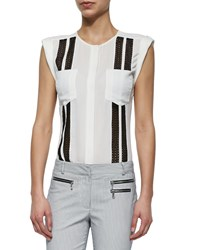 Veronica Beard Lace Inset Silk Muscle Tee White