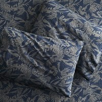 Cb2 The Hill Side Tropical Leaves Queen Sheet Set