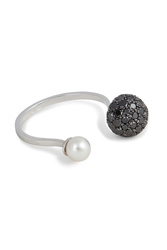 Delfina Delettrez 18Kt White Gold Sphere Ring With Black Diamonds And Pearl