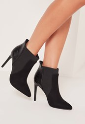 Missguided Croc Heel Pointed Toe Ankle Boots Black Black