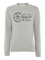 Original Penguin Embroidered Logo Crew Neck Sweatshirt Grey