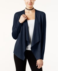 Inc International Concepts Petite Faux Moleskin Draped Cardigan Only At Macy's Deep Twilight
