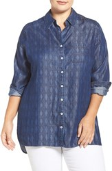 Foxcroft Plus Size Women's Geo Print Denim High Low Hem Shirt