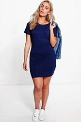 Boohoo Faith Short Sleeve Bodycon Dress Navy