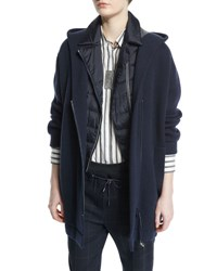 Brunello Cucinelli Hooded Cashmere Long Jacket Navy