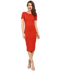 Unique Vintage Short Sleeve Stretch Mod Wiggle Dress Burnt Orange Women's Dress