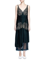 Stella Mccartney Floral Lace Sable Satin Dress Green