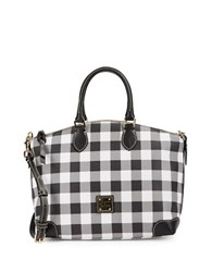 Dooney And Bourke Tucker Plaid Leather Satchel Black