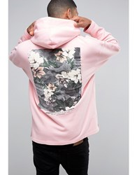 Asos Oversized Hoodie With Freedom Print In Pink Strawberry Cream Grey