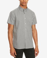 Kenneth Cole Reaction Men's Basford Check Short Sleeve Shirt Black Combo