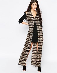 Liquorish Shift Dress With Printed Maxi Overlay In Striped Animal Print Black