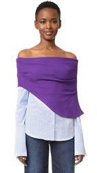 Jacquemus Off Shoulder Button Down Shirt White Sky Blue Striped Purple