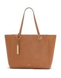 Vince Camuto Livi Top Grain Pebbled Leather Tote Chestnut Brown