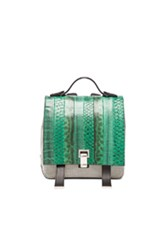 Proenza Schouler Small Exotic Stripe Courier Backpack In Green Black Animal Print