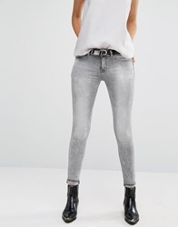 Mango Distressed Grey Skinny Jeans Grey