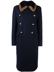 Ermanno Scervino Mink Fur Collar Coat Blue