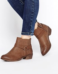 New Look Wide Fit Ankle Strap Boots Tan