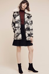 Anthropologie Cloudscape Car Coat Black Motif