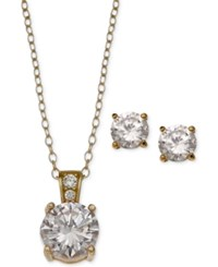 Giani Bernini 2 Pc. Set Cubic Zirconia Round Pendant Necklace And Stud Earring Set In 18K Gold Plated Sterling Silver Only At Macy's Yellow Gold