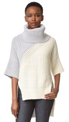 Derek Lam Bicolor Turtleneck Drop Shoulder Sweater Ivory Multi