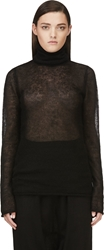Helmut Lang Black Fine Knit Mohair And Silk Turtleneck