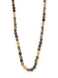 Chan Luu Labradorite And Crystal Long Beaded Necklace Gold Green