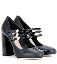 Miu Miu Embellished Patent Leather Pumps Black