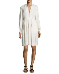 Etoile Isabel Marant Neil Long Sleeve Crepe Dress Ivory