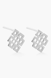 Alex And Ani 'Symbolic Endless Knot' Stud Earrings Silver