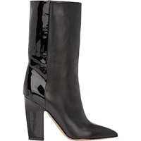 Leather And Patent Mid Calf Boots Black