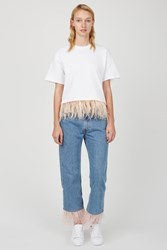 Opening Ceremony Oc Rework Feather Trim Jeans Light Blue