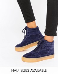Asos Duke Lace Up High Top Trainers Navy Blue