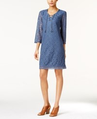 Styleandco. Style Co. Petite Lace Lace Up Sheath Dress Only At Macy's New Uniform Blue