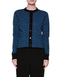 Marni Long Sleeve Graphic Knit Cardigan Blue