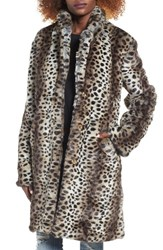 Somedays Lovin Women's Leopard Print Faux Fur Coat