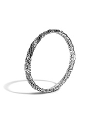 John Hardy Classic Chain Sterling Silver Lava Hinged Bangle With Black Sapphire